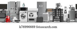 Household and kitchen appliances and home technics in a row. Seamless pattern. E-commerce online internet store concept.