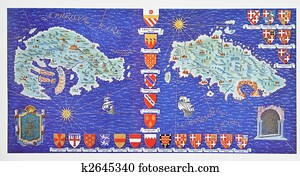 Medieval map, the islands of Rhodes and Malta