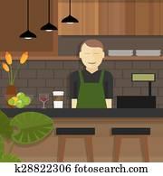 shop cafe assistant waitress behind cashier owner