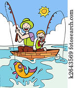 vater, sohn, fischen- reise
