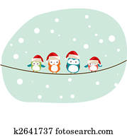 winter birds Christmas card