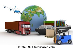 Cargo ship, truck, plane and loader