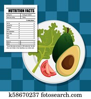 healthy food with nutritional facts