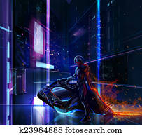 Sci-fi neon warrior on bike