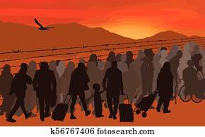 Silhouettes of refugees people behind barbed wire