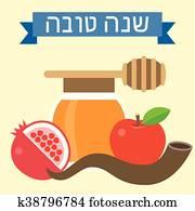 Vector Rosh Hashanah, flat disign