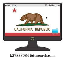 California Computer Flag With On Button