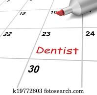 Dentist Calendar Means Dental And Teeth Checkup