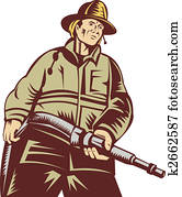 Firefighter carrying a hose viewed from a low angle done in woodcut style