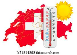 Heat in Switzerland concept. 3D rendering