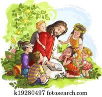 jesus, lesende, bibel, mit, kindern