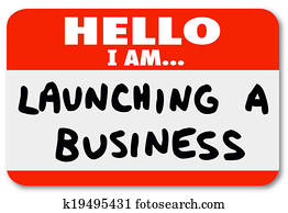 Launching a Business Name Tag Sticker New Company Start