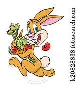 Rabbit Carrying Vegetables