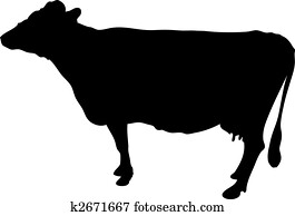illustration of a black silhouetette of a cow