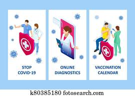 Isometric Online medical advise or consultation service, tele medicine, cardiology. Online treatment recipe. Medicine and pharmacy banners. Pharmacist care for the patient. Medicine industry.