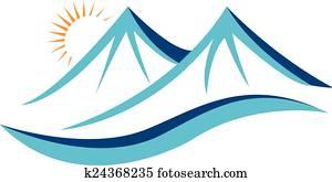 Mountains with sun logo