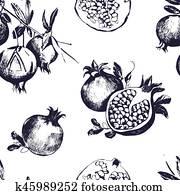 Seamless pattern with pomegranates. Fruit on white background.