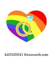 Vector gay LGBT wedding rings rainbow heart