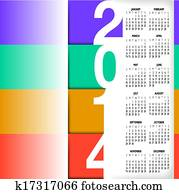 2014, infographic, stil, kalender