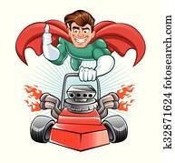 Cartoon superhero with lawn mower