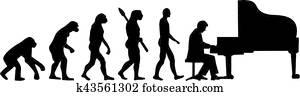 grandpiano, spieler, evolutionsphasen