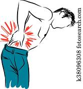 man with back pain illustration