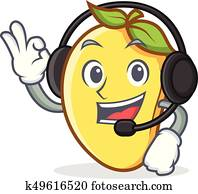 mango character cartoon mascot with headphone