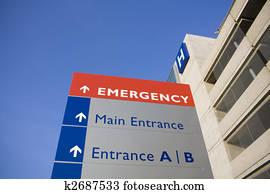 modernes, klinikum, und, dringlichkeits zeichen