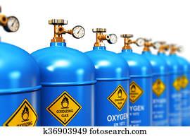 reihe, von, verflüssigt, sauerstoff, industriell, gas, beh?lter