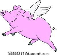 schwein, fliegen, karikatur