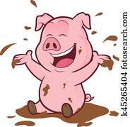 schwein, spielender, in, dass, schlamm