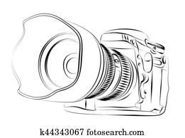 skizze, von, kamera.