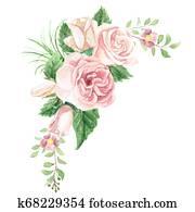 Watercolor Floral Bouquet Corner