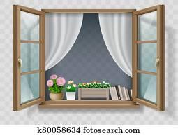 bois, chêne, marron, classique, vintage, fenêtre ouverte