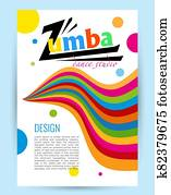 Design for dance Studio. Colored letters card on white