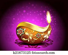 Diwali festival Background with Rangoli