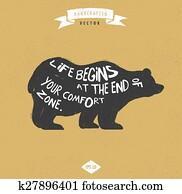 inspiration quote hipster vintage design label - Bear