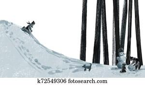 the children play outside in winter, sledding