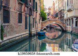 Venice canal with gondolas