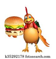 cute Chicken cartoon character with burger