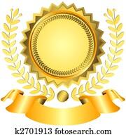 Golden award with ribbon (vector)