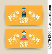 Greetings new year korean dress girl boy couple images and stock happy korean new year 2018 cute kid banner set m4hsunfo