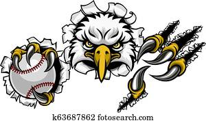 Eagle Baseball Cartoon Mascot Tearing Background
