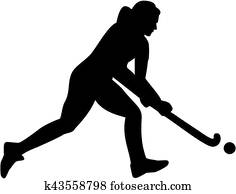 Female field hockey player silhouette