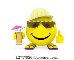 Happy face yellow ball in summer clothes