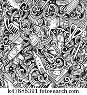 Graphic Hair salon hand drawn artistic doodles seamless pattern.