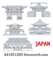 Japanese travel landmarks with buildings of Tokyo