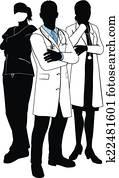 medizinische mannschaft, doktor, silhouetten