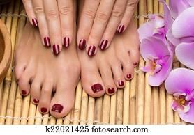 Pedicure and manicure in the salon