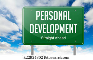 Personal Development on Highway Signpost.